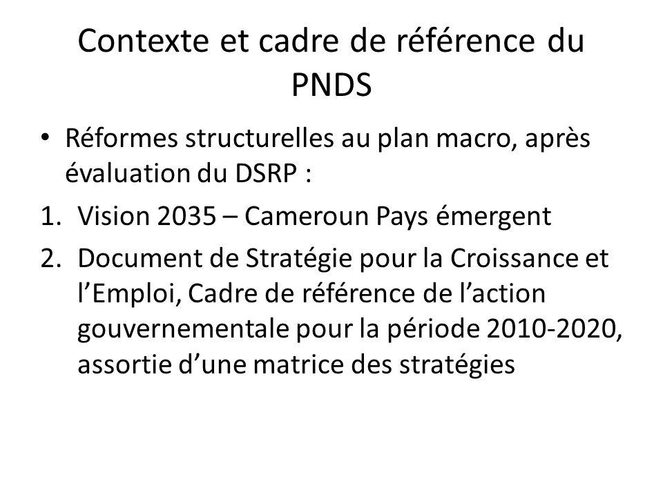 Contexte et cadre de référence du PNDS Réformes structurelles au plan macro, après évaluation du DSRP : 1.Vision 2035 – Cameroun Pays émergent 2.Document de Stratégie pour la Croissance et lEmploi, Cadre de référence de laction gouvernementale pour la période 2010-2020, assortie dune matrice des stratégies