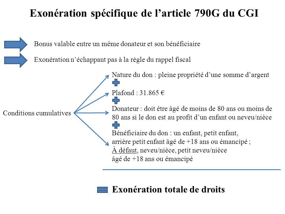 Exonération spécifique de larticle 790G du CGI Bonus valable entre un même donateur et son bénéficiaire Conditions cumulatives Nature du don : pleine