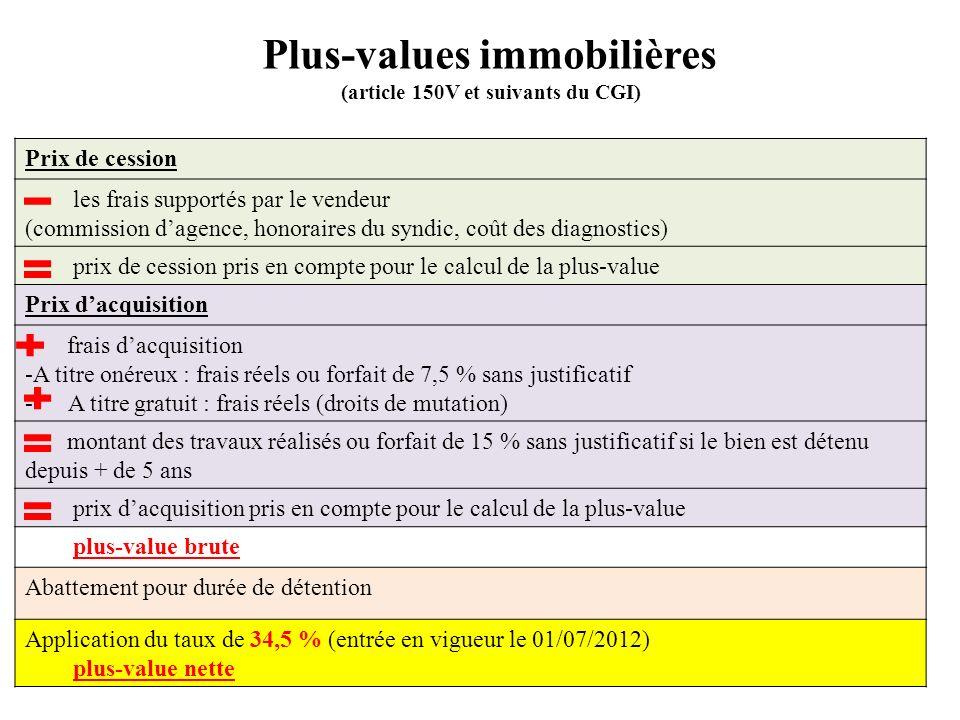 Plus-values immobilières (article 150V et suivants du CGI) Prix de cession les frais supportés par le vendeur (commission dagence, honoraires du syndi
