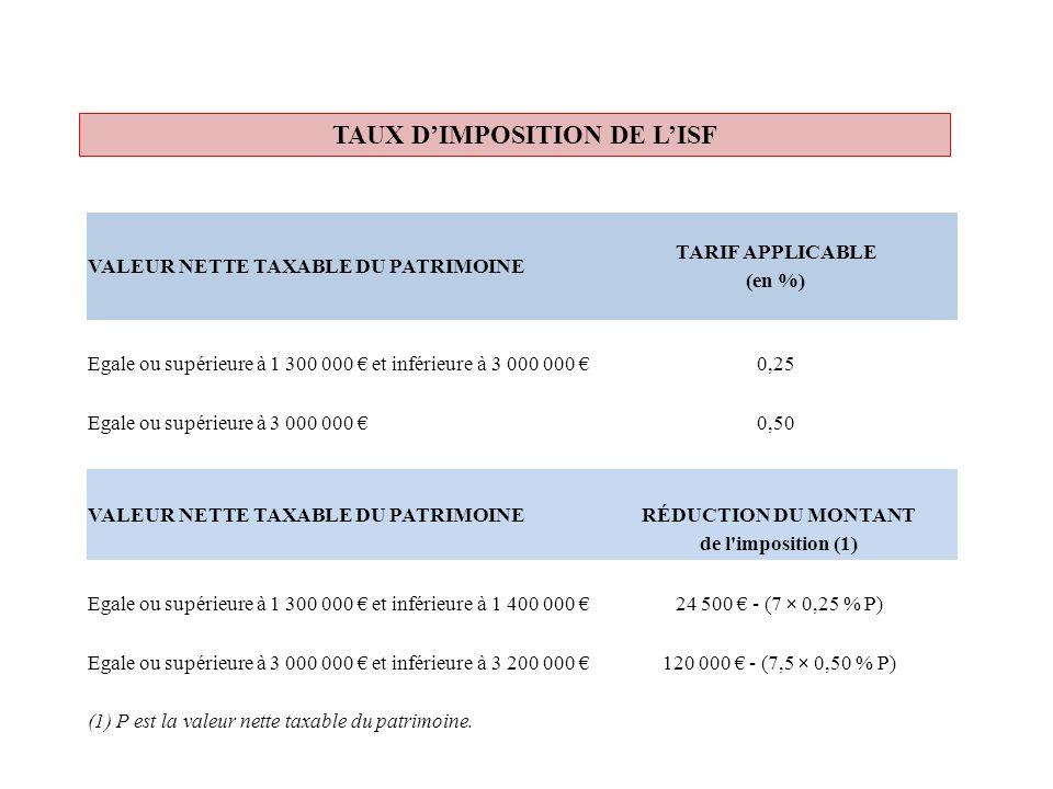 TAUX DIMPOSITION DE LISF VALEUR NETTE TAXABLE DU PATRIMOINE TARIF APPLICABLE (en %) Egale ou supérieure à 1 300 000 et inférieure à 3 000 000 0,25 Ega