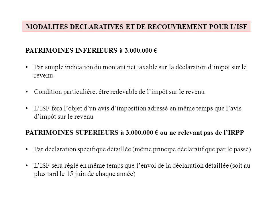 MODALITES DECLARATIVES ET DE RECOUVREMENT POUR LISF PATRIMOINES INFERIEURS à 3.000.000 Par simple indication du montant net taxable sur la déclaration