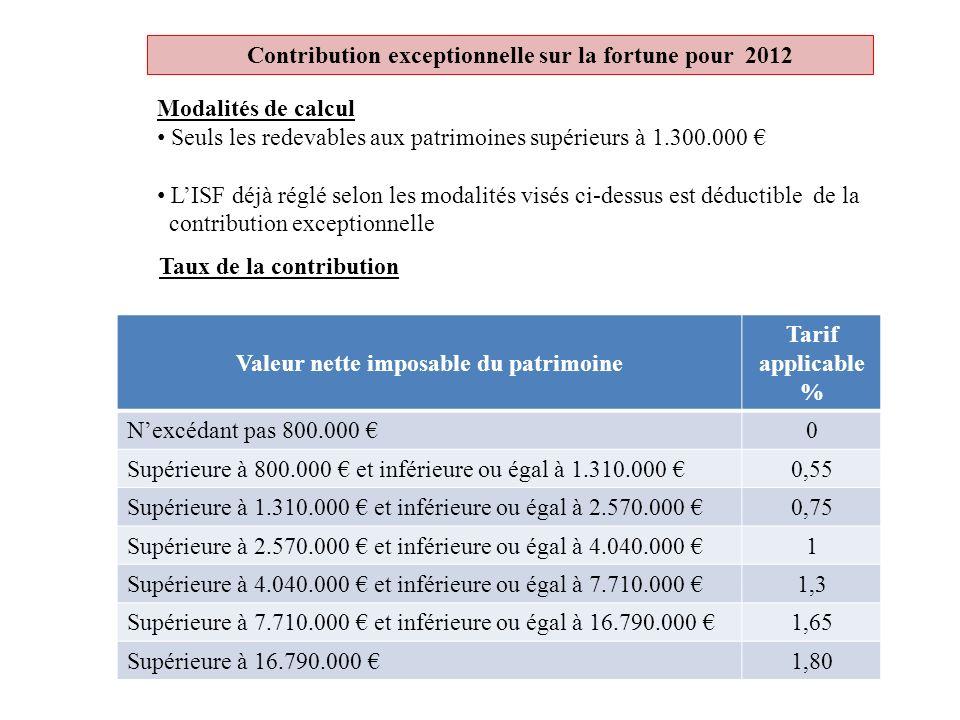 Contribution exceptionnelle sur la fortune pour 2012 Modalités de calcul Seuls les redevables aux patrimoines supérieurs à 1.300.000 LISF déjà réglé s