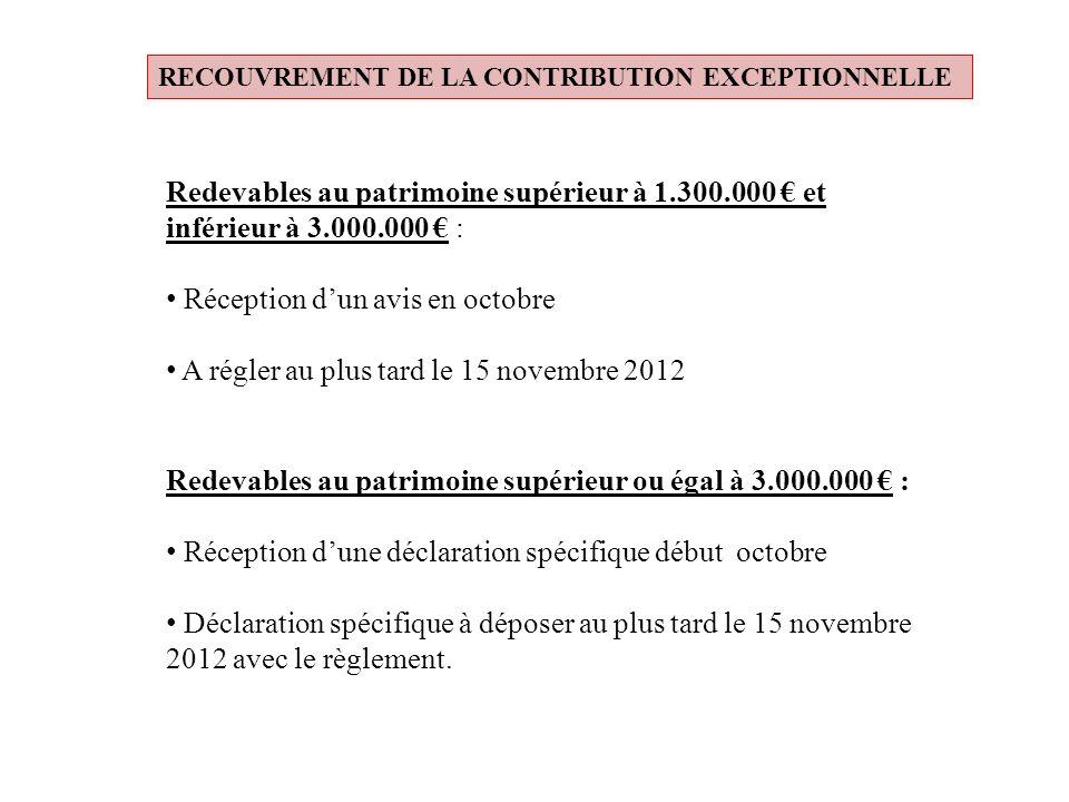 RECOUVREMENT DE LA CONTRIBUTION EXCEPTIONNELLE Redevables au patrimoine supérieur à 1.300.000 et inférieur à 3.000.000 : Réception dun avis en octobre