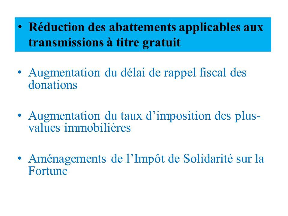 Augmentation du délai de rappel fiscal des donations Augmentation du taux dimposition des plus- values immobilières Aménagements de lImpôt de Solidari