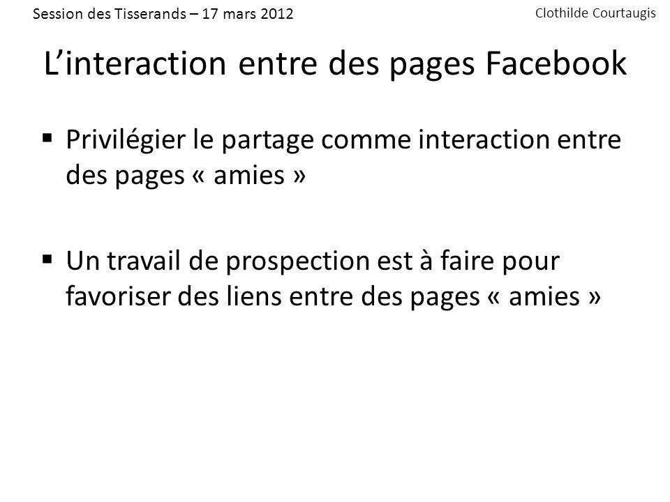 5 – Temps déchanges Sur vos propres pages ou profils Sur vos projets Web 2.0 Session des Tisserands – 17 mars 2012 Clothilde Courtaugis
