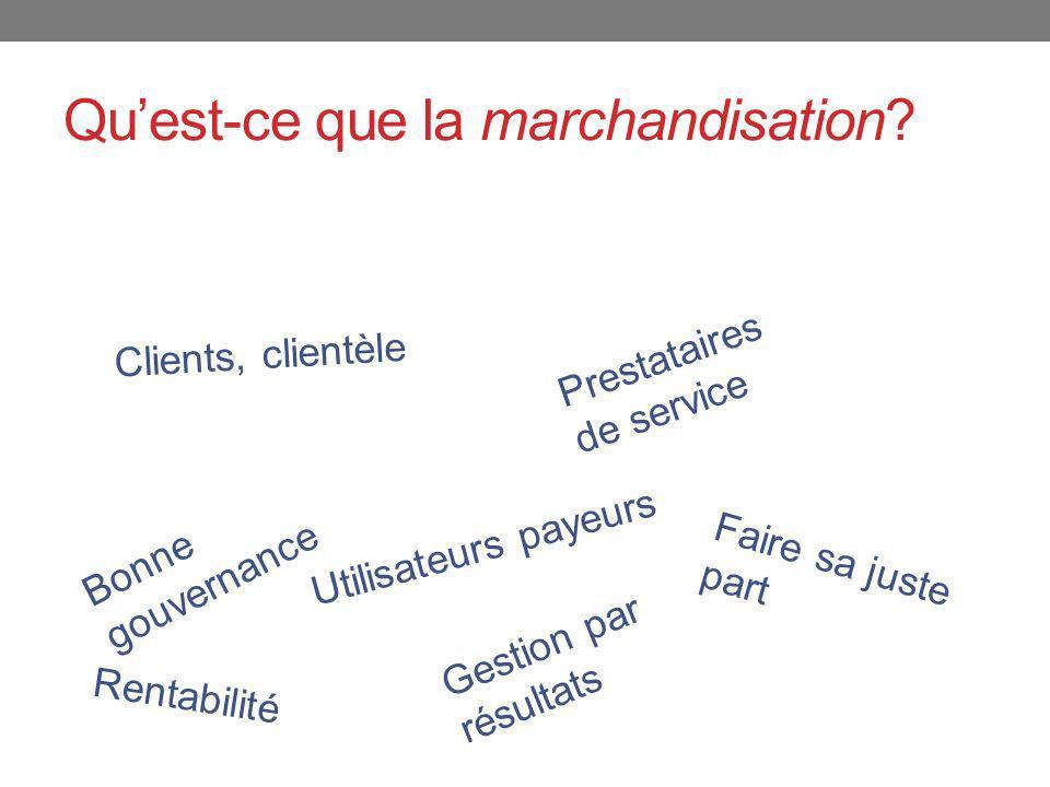 Clients, clientèle Bonne gouvernance Prestataires de service Utilisateurs payeurs Rentabilité Faire sa juste part Gestion par résultats