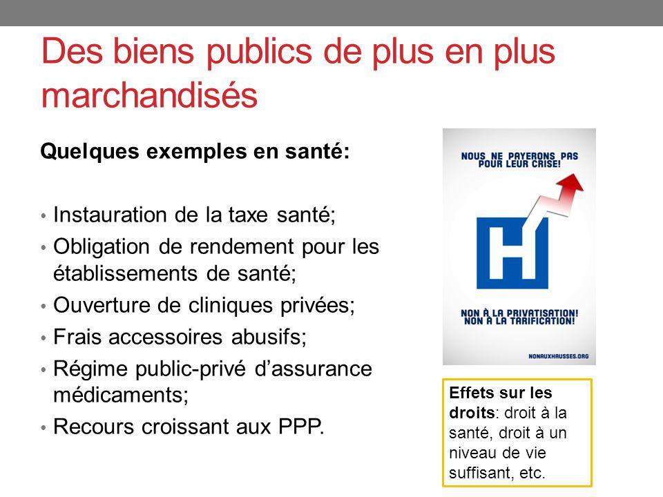Des biens publics de plus en plus marchandisés Quelques exemples en santé: Instauration de la taxe santé; Obligation de rendement pour les établisseme