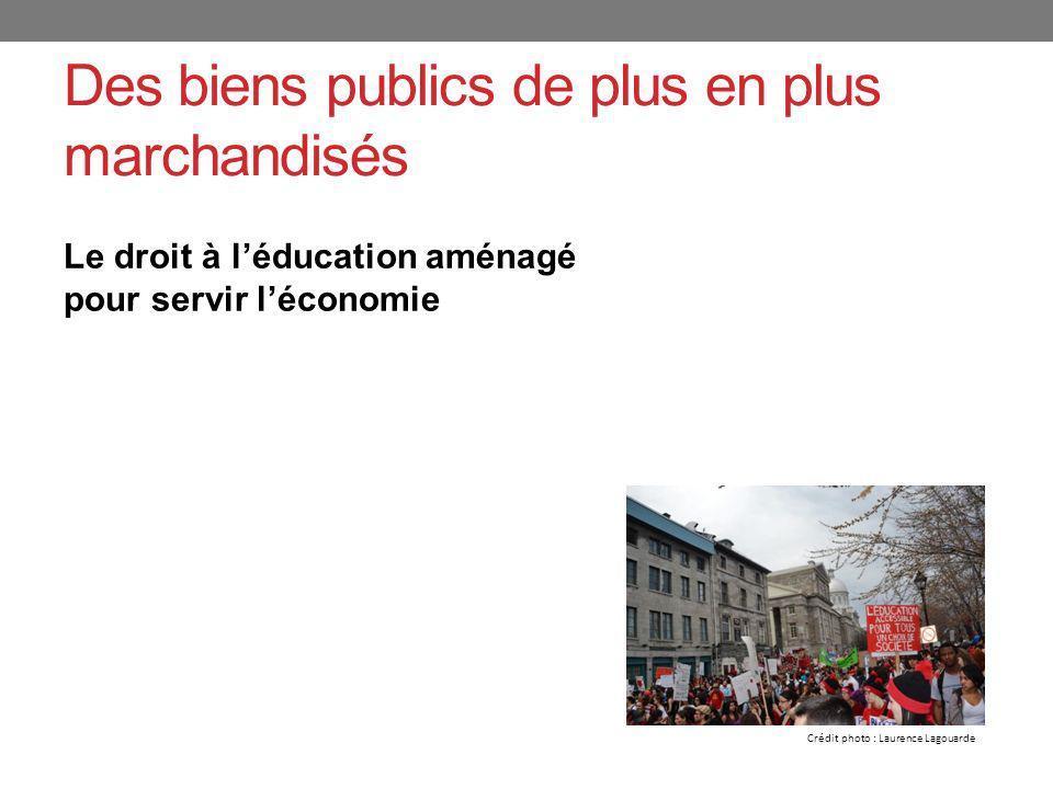 Des biens publics de plus en plus marchandisés Le droit à léducation aménagé pour servir léconomie Crédit photo : Laurence Lagouarde