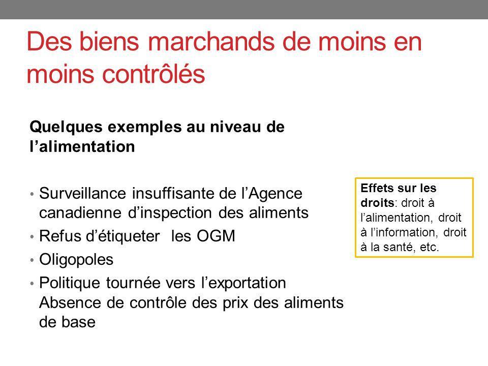 Des biens marchands de moins en moins contrôlés Quelques exemples au niveau de lalimentation Surveillance insuffisante de lAgence canadienne dinspecti