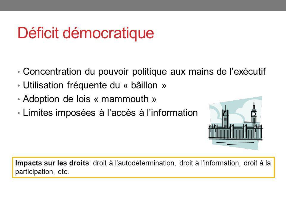 Déficit démocratique Concentration du pouvoir politique aux mains de lexécutif Utilisation fréquente du « bâillon » Adoption de lois « mammouth » Limi