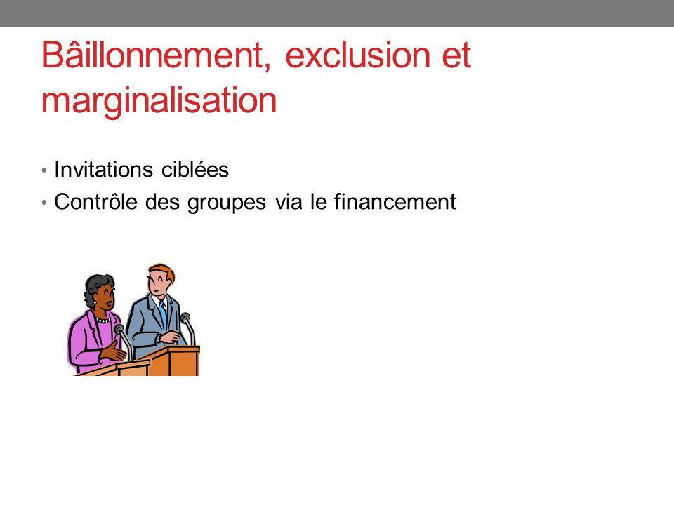 Bâillonnement, exclusion et marginalisation Invitations ciblées Contrôle des groupes via le financement