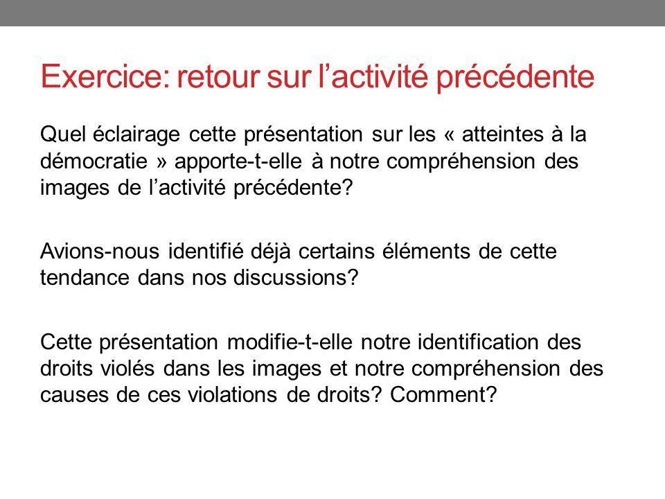 Exercice: retour sur lactivité précédente Quel éclairage cette présentation sur les « atteintes à la démocratie » apporte-t-elle à notre compréhension
