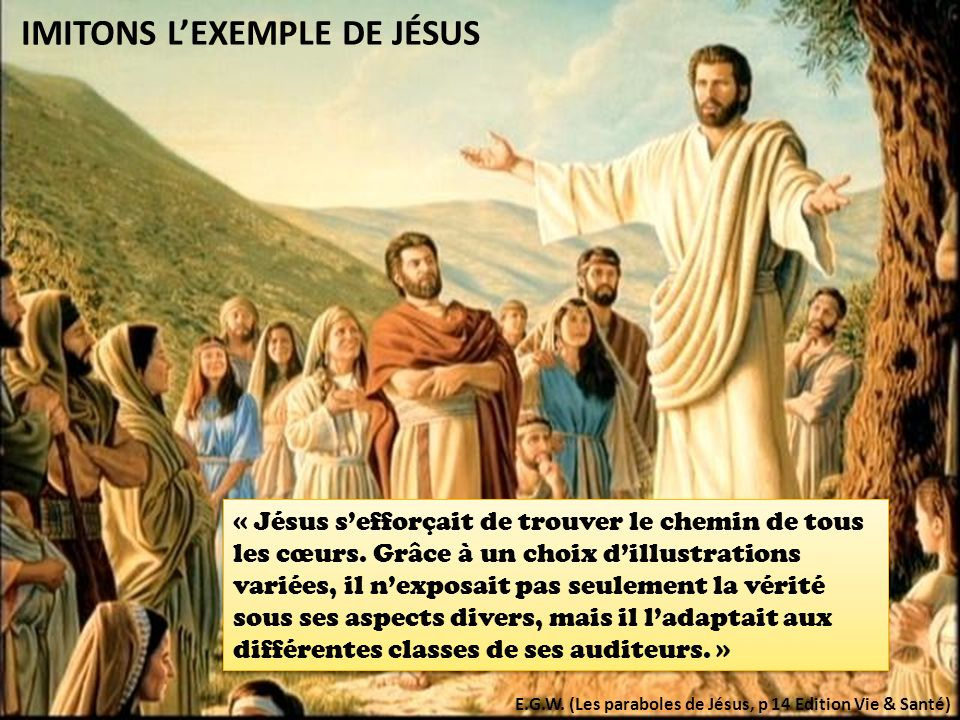 IMITONS LEXEMPLE DE JÉSUS « Jésus sefforçait de trouver le chemin de tous les cœurs.