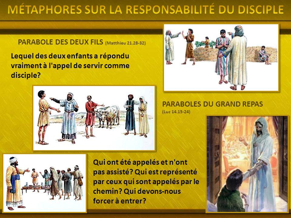 PARABOLE DES DEUX FILS (Matthieu 21.28-32) Lequel des deux enfants a répondu vraiment à l appel de servir comme disciple.
