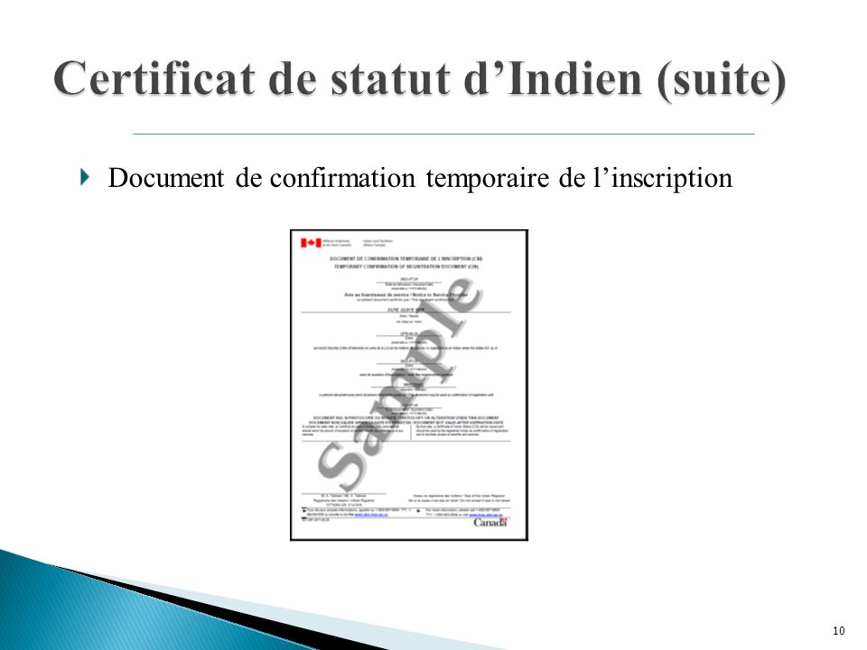 10 Document de confirmation temporaire de linscription