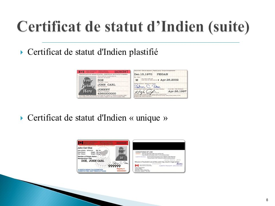 Certificat de statut d Indien plastifié Certificat de statut d Indien « unique » 8
