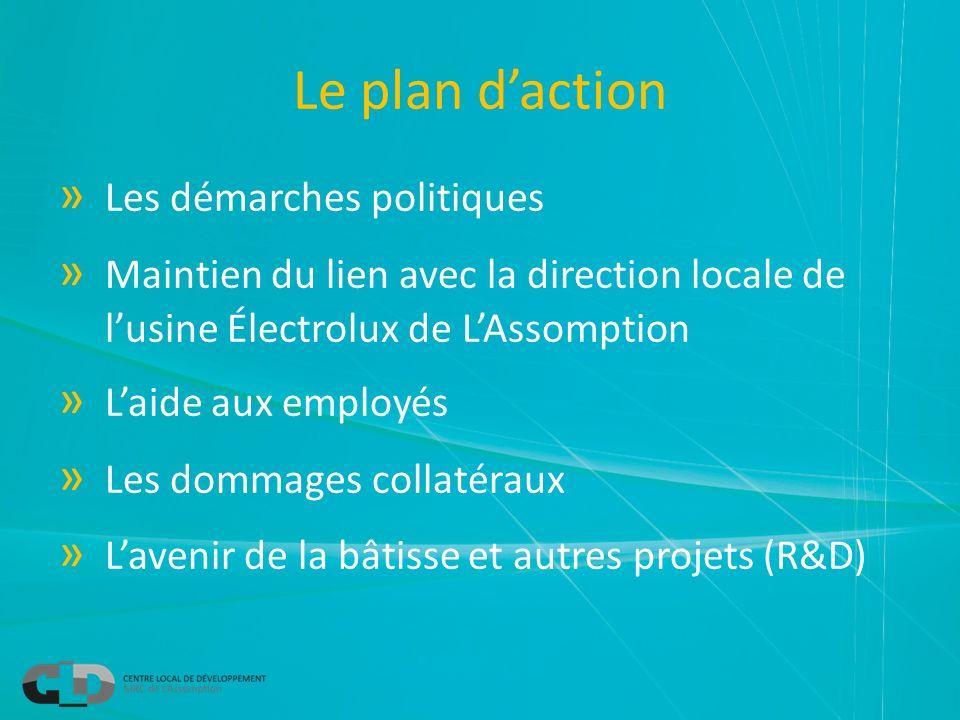Le plan daction » Les démarches politiques » Maintien du lien avec la direction locale de lusine Électrolux de LAssomption » Laide aux employés » Les