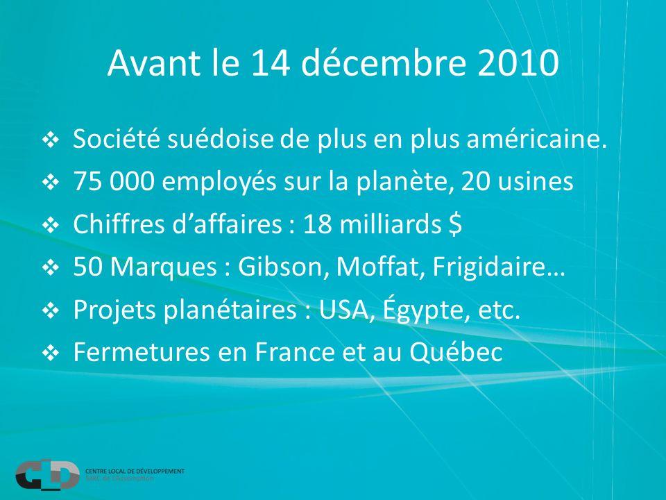 Avant le 14 décembre 2010 Société suédoise de plus en plus américaine. 75 000 employés sur la planète, 20 usines Chiffres daffaires : 18 milliards $ 5