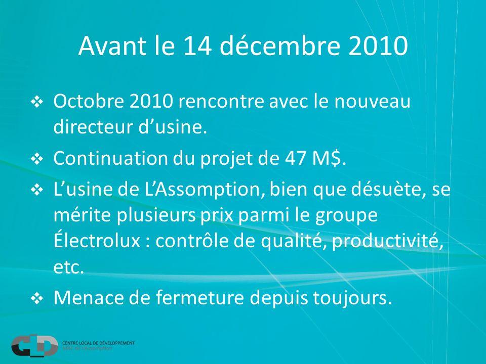 Avant le 14 décembre 2010 Octobre 2010 rencontre avec le nouveau directeur dusine.