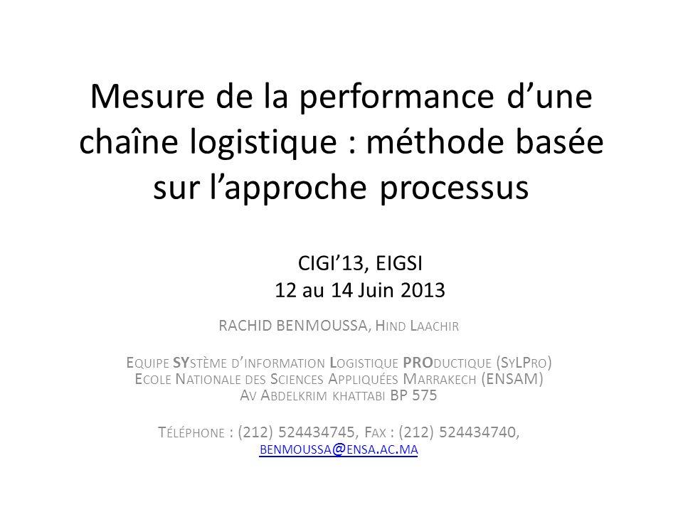 Mesure de la performance dune chaîne logistique : méthode basée sur lapproche processus RACHID BENMOUSSA, H IND L AACHIR E QUIPE SY STÈME D INFORMATIO