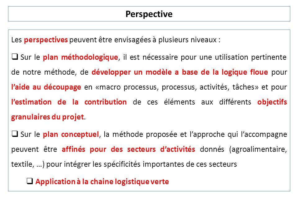 Les perspectives peuvent être envisagées à plusieurs niveaux : Sur le plan méthodologique, il est nécessaire pour une utilisation pertinente de notre