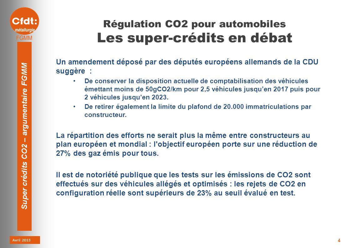 Avril 2013 Super crédits CO2 – argumentaire FGMM 4 Régulation CO2 pour automobiles Les super-crédits en débat Un amendement déposé par des députés européens allemands de la CDU suggère : De conserver la disposition actuelle de comptabilisation des véhicules émettant moins de 50gCO2/km pour 2,5 véhicules jusquen 2017 puis pour 2 véhicules jusquen 2023.