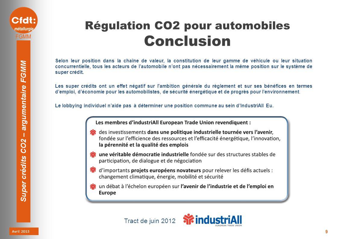 Avril 2013 Super crédits CO2 – argumentaire FGMM 9 Régulation CO2 pour automobiles Conclusion Selon leur position dans la chaîne de valeur, la constitution de leur gamme de véhicule ou leur situation concurrentielle, tous les acteurs de lautomobile nont pas nécessairement la même position sur le système de super crédit.