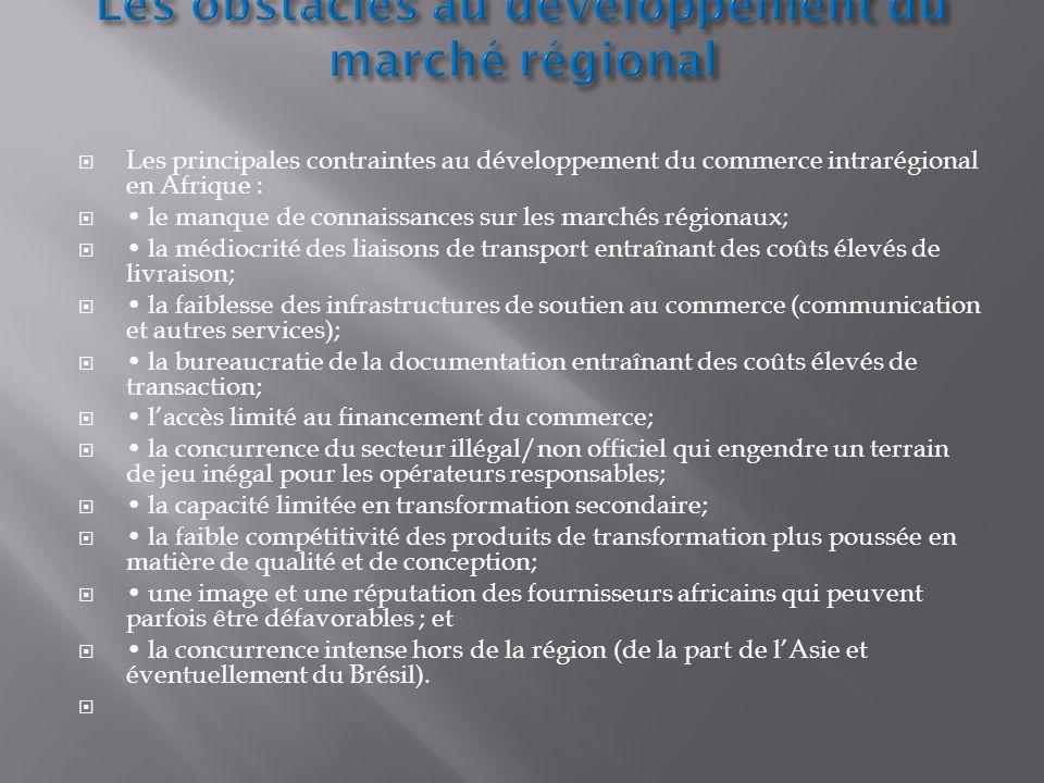 Les principales contraintes au développement du commerce intrarégional en Afrique : le manque de connaissances sur les marchés régionaux; la médiocrit