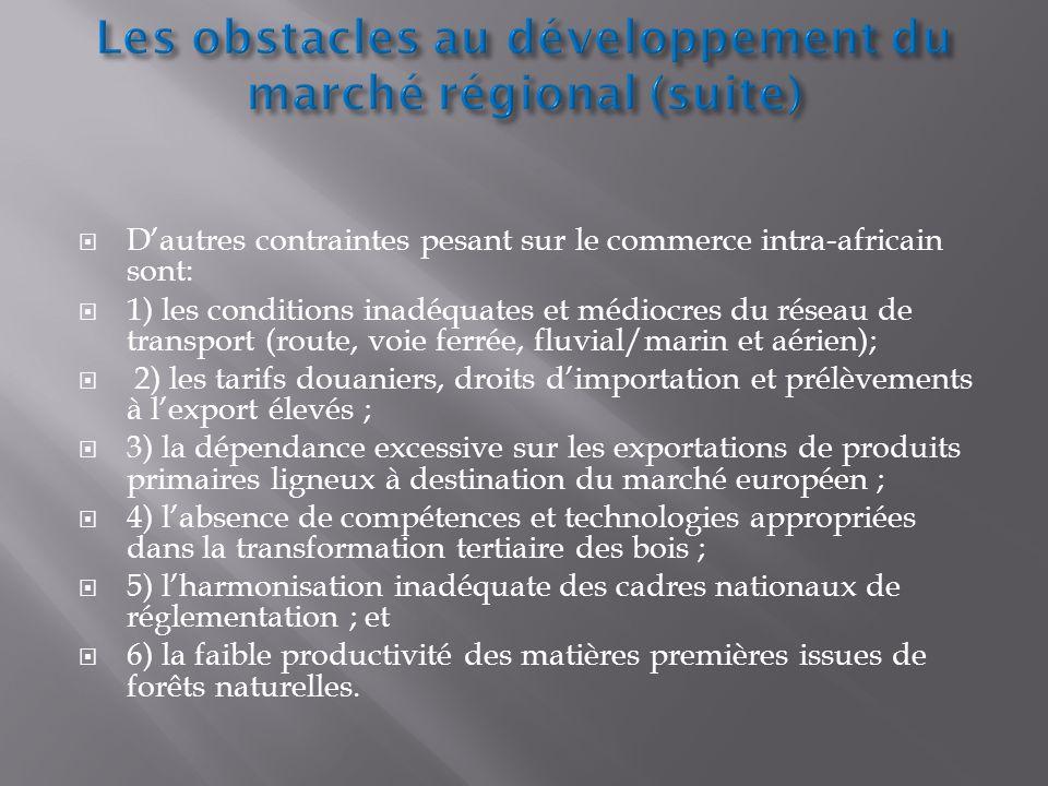 Dautres contraintes pesant sur le commerce intra-africain sont: 1) les conditions inadéquates et médiocres du réseau de transport (route, voie ferrée,