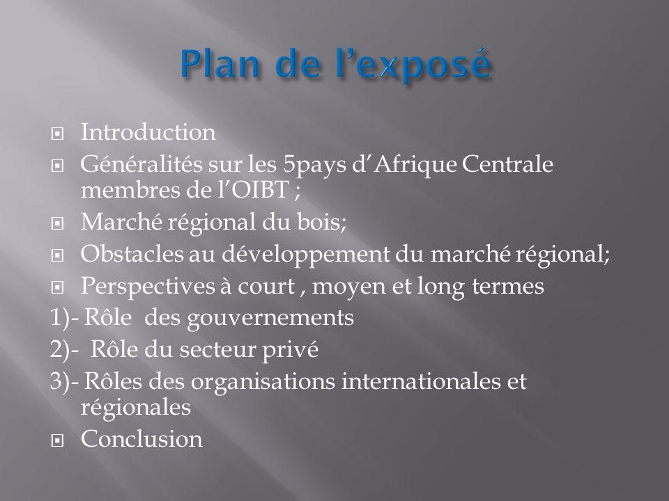 Introduction Généralités sur les 5pays dAfrique Centrale membres de lOIBT ; Marché régional du bois; Obstacles au développement du marché régional; Pe