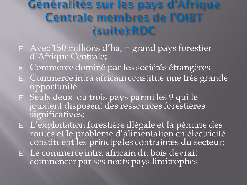 Avec 150 millions dha, + grand pays forestier dAfrique Centrale; Commerce dominé par les sociétés étrangères Commerce intra africain constitue une trè