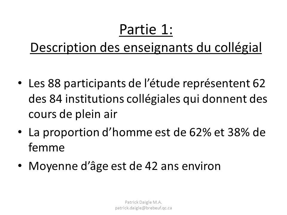 Partie 1: Description des enseignants du collégial Les 88 participants de létude représentent 62 des 84 institutions collégiales qui donnent des cours de plein air La proportion dhomme est de 62% et 38% de femme Moyenne dâge est de 42 ans environ Patrick Daigle M.A.