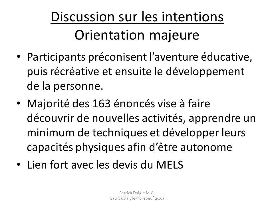 Discussion sur les intentions Orientation majeure Participants préconisent laventure éducative, puis récréative et ensuite le développement de la personne.