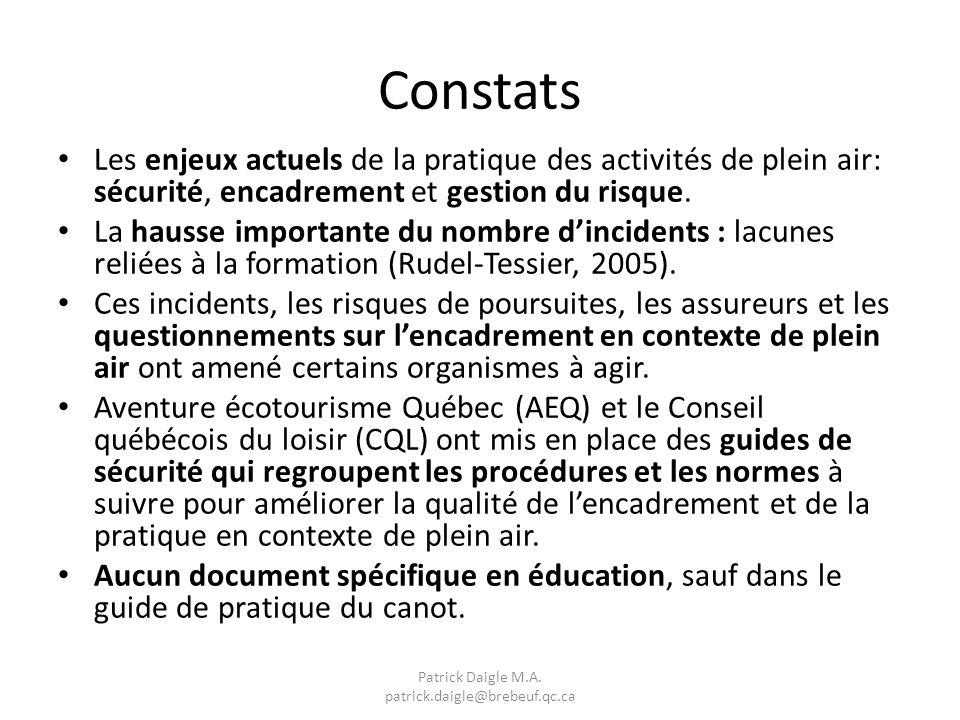 Constats Les enjeux actuels de la pratique des activités de plein air: sécurité, encadrement et gestion du risque.