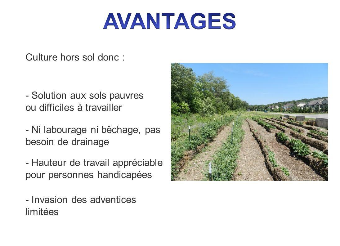 - Solution aux sols pauvres ou difficiles à travailler Culture hors sol donc : - Ni labourage ni bêchage, pas besoin de drainage - Hauteur de travail