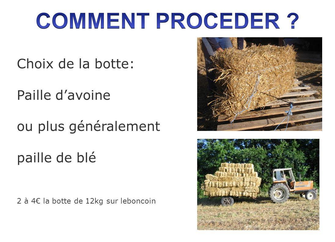 Choix de la botte: Paille davoine ou plus généralement paille de blé 2 à 4 la botte de 12kg sur leboncoin