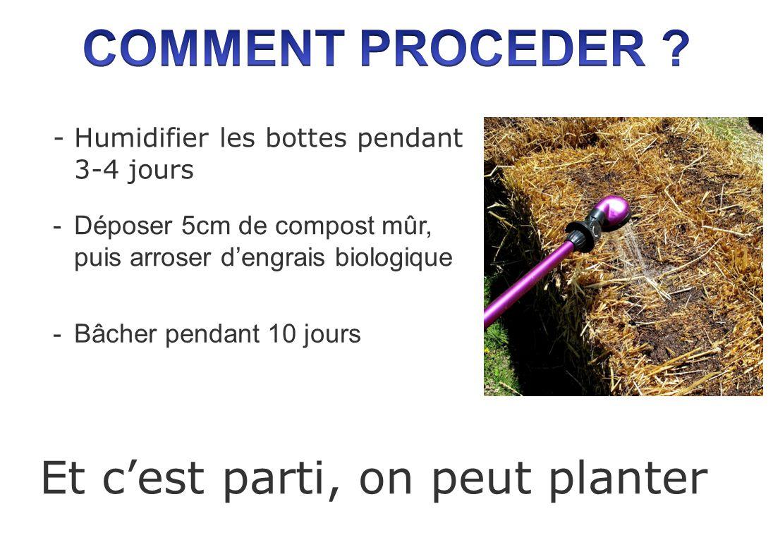 -Humidifier les bottes pendant 3-4 jours Et cest parti, on peut planter -Déposer 5cm de compost mûr, puis arroser dengrais biologique -Bâcher pendant