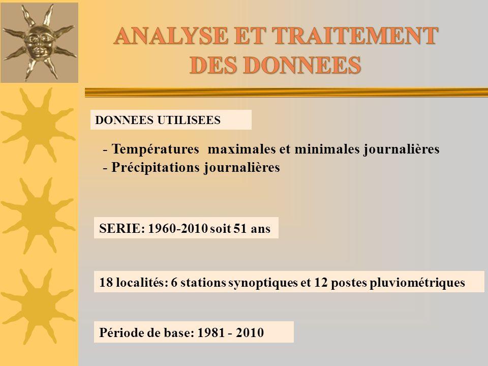 DONNEES UTILISEES - Températures maximales et minimales journalières - Précipitations journalières SERIE: 1960-2010 soit 51 ans 18 localités: 6 statio