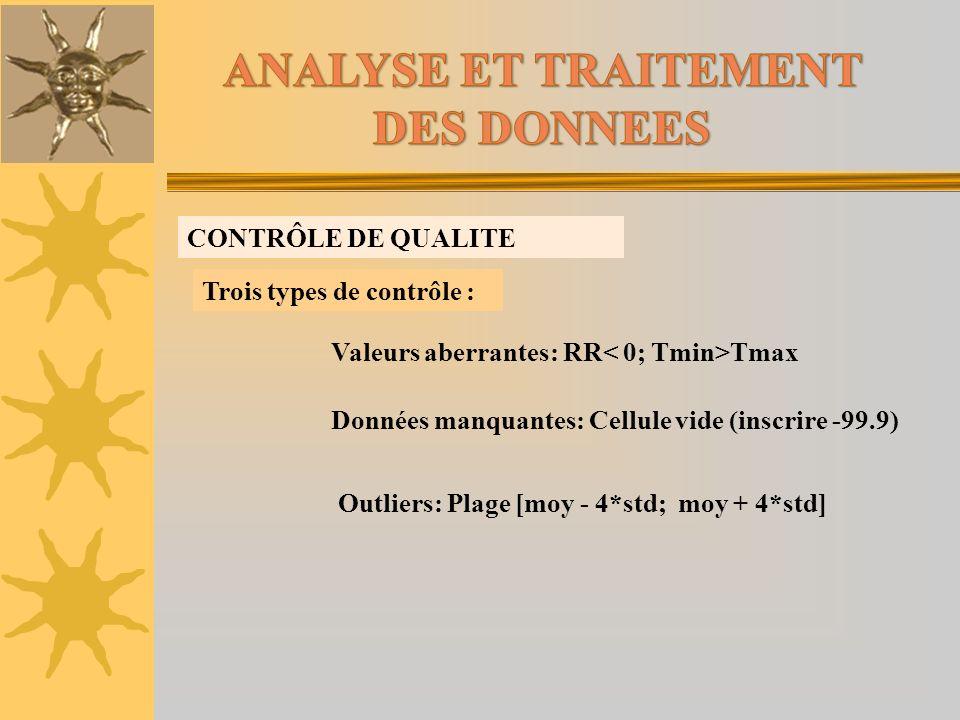 CONTRÔLE DE QUALITE Trois types de contrôle : Valeurs aberrantes: RR Tmax Données manquantes: Cellule vide (inscrire -99.9) Outliers: Plage [moy - 4*s