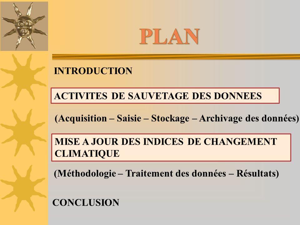 INTRODUCTION ACTIVITES DE SAUVETAGE DES DONNEES (Acquisition – Saisie – Stockage – Archivage des données) (Méthodologie – Traitement des données – Rés