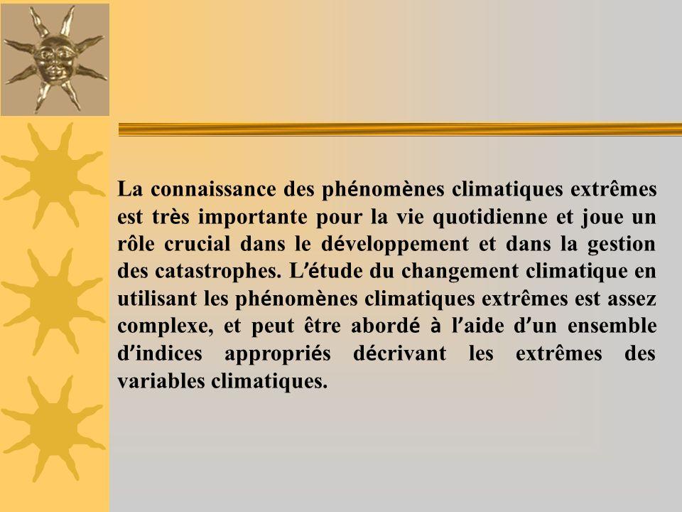 La connaissance des ph é nom è nes climatiques extrêmes est tr è s importante pour la vie quotidienne et joue un rôle crucial dans le d é veloppement