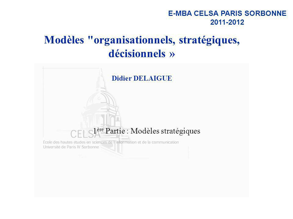 D.Delaigue CELSA / E-MBA / Modèles Stratégiques 182 Les free model Free 1 : the « razor-and-blades » model –get one thing free, buy another From « free gift inside » to « free toaster for opening an account » Free 2 : the media business model –From « free-to-air broadcast radio and tv » to « ad-supported content online » Free 3 : the freemium model –The marginal cost of production and distribution is close to zero 90% of the users get the basic product for free and 10% chose to pay for a premium version : versioning