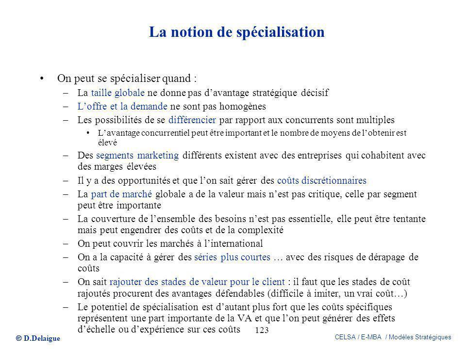 D.Delaigue CELSA / E-MBA / Modèles Stratégiques 123 La notion de spécialisation On peut se spécialiser quand : –La taille globale ne donne pas davanta