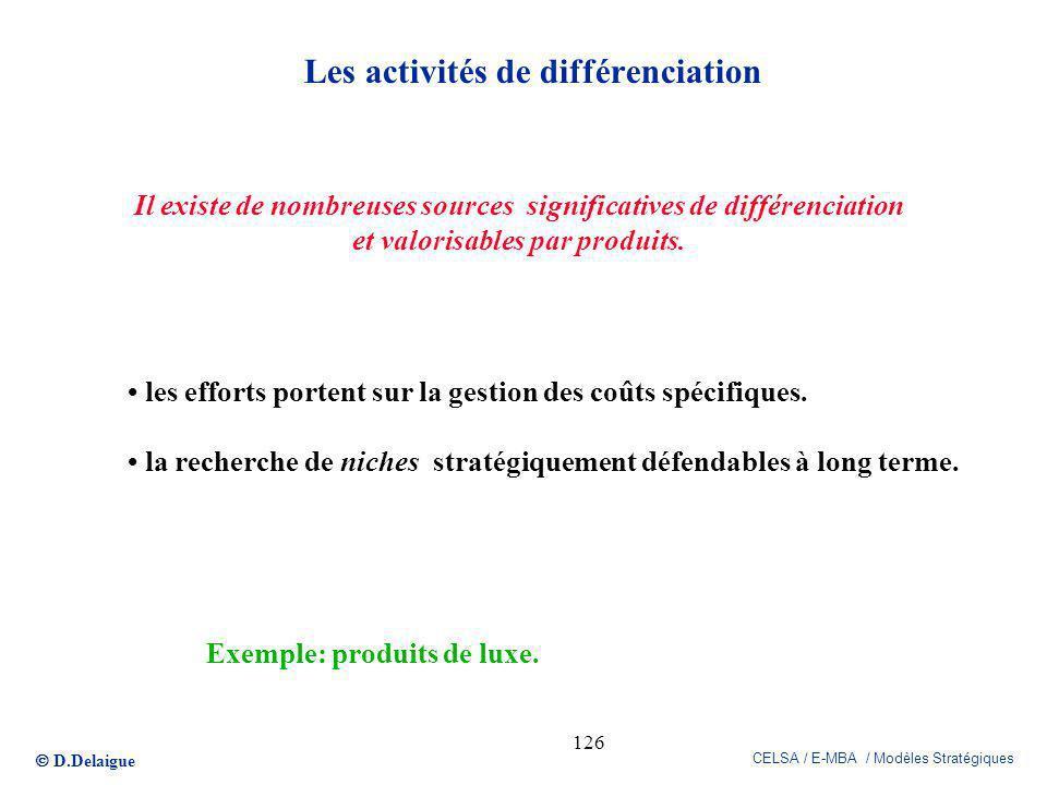 D.Delaigue CELSA / E-MBA / Modèles Stratégiques 126 Les activités de différenciation Il existe de nombreuses sources significatives de différenciation