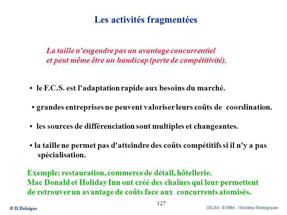 D.Delaigue CELSA / E-MBA / Modèles Stratégiques 127 Les activités fragmentées La taille n'engendre pas un avantage concurrentiel et peut même être un