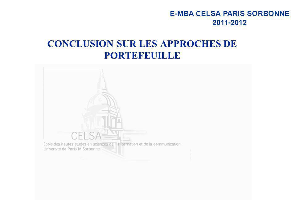 E-MBA CELSA PARIS SORBONNE 2011-2012 CONCLUSION SUR LES APPROCHES DE PORTEFEUILLE