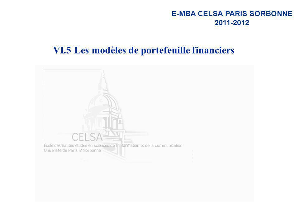 E-MBA CELSA PARIS SORBONNE 2011-2012 VI.5 Les modèles de portefeuille financiers