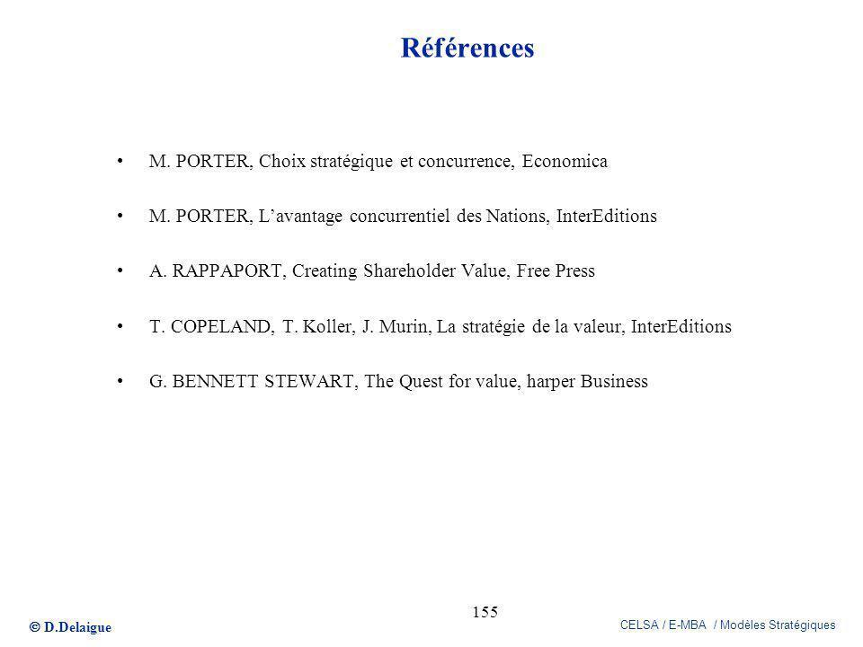 D.Delaigue CELSA / E-MBA / Modèles Stratégiques 155 Références M. PORTER, Choix stratégique et concurrence, Economica M. PORTER, Lavantage concurrenti