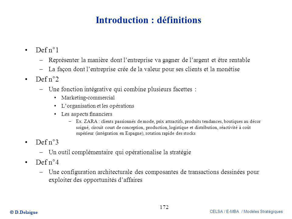 D.Delaigue CELSA / E-MBA / Modèles Stratégiques 172 Introduction : définitions Def n°1 –Représenter la manière dont lentreprise va gagner de largent e