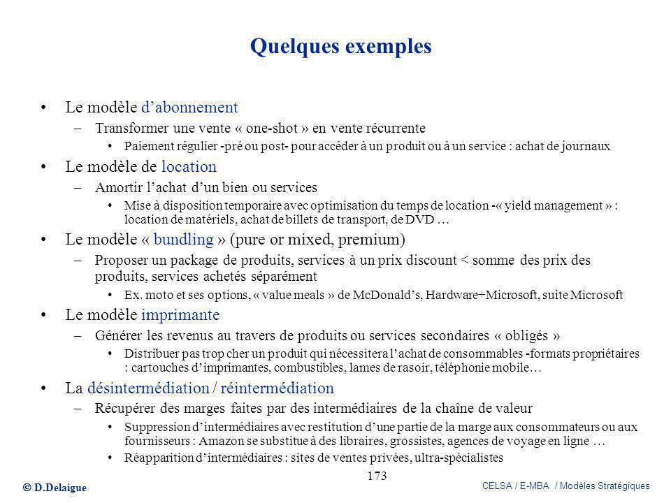 D.Delaigue CELSA / E-MBA / Modèles Stratégiques 173 Quelques exemples Le modèle dabonnement –Transformer une vente « one-shot » en vente récurrente Pa